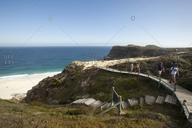 Diaz Beach, Cape Point - March 20, 2012: Tourists walking on a boardwalk