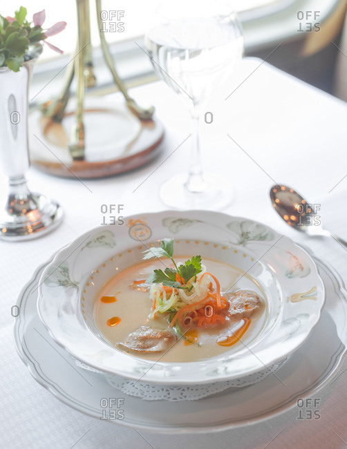 Close up of a plate of soup
