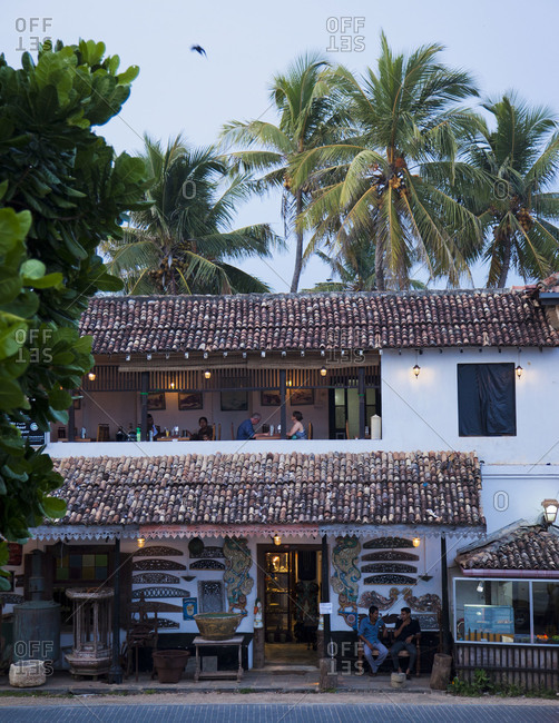 Galle, Sri Lanka - Feburary 21, 2012: Exterior of restaurant serving dinner