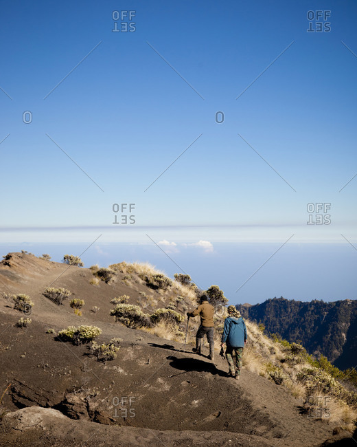 People climbing the Mount Rinjani, Lombok, Indonesia