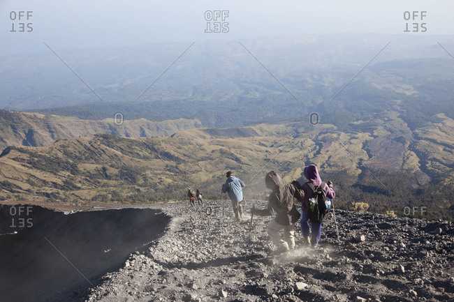 People descending from the summit of Mount Rinjani, Lombok, Indonesia
