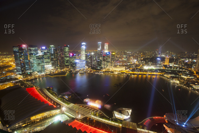 View of the central business district of Singapore at night
