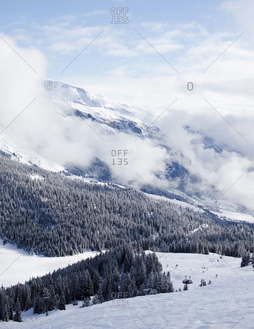 Valley in Alpine ski area
