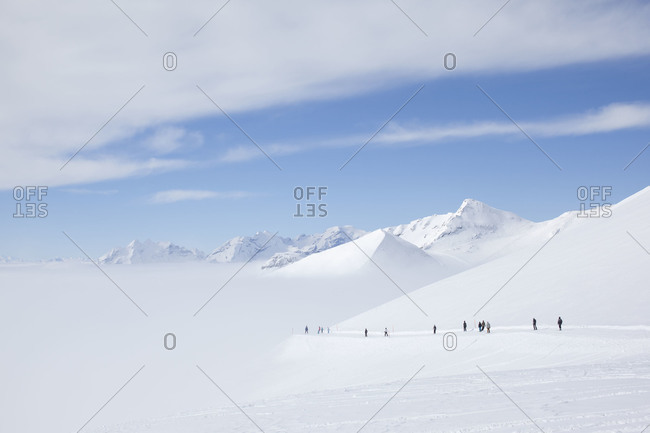 Snow-covered mountains in Swiss Alps