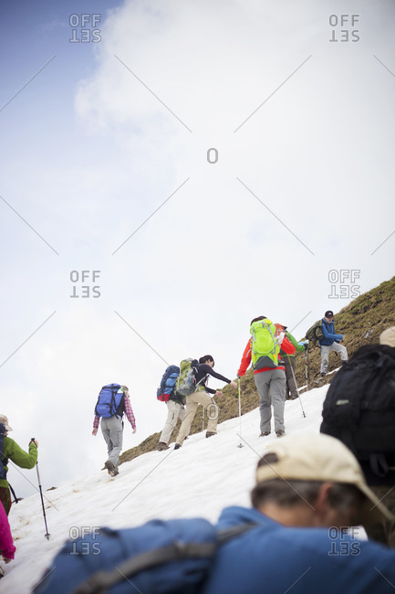June 28, 2013: Summer trekking on snow covered mountain