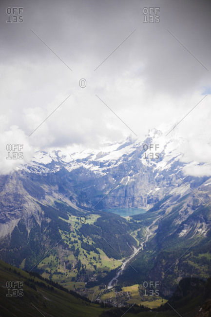 View of snowy mountain peaks in Swiss Alps