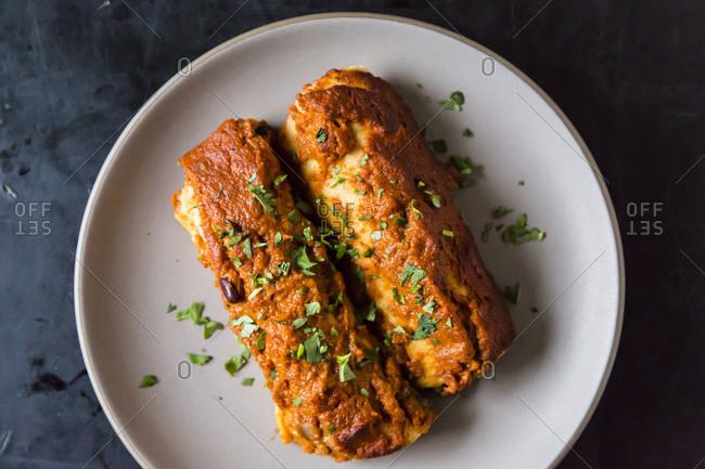 Wintry Mushroom, Kale and Quinoa Enchiladas
