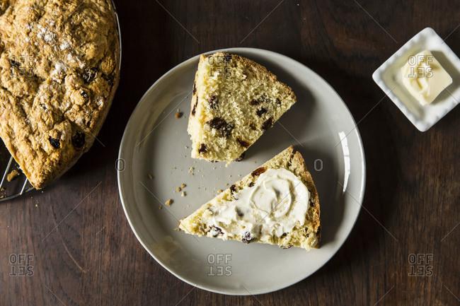 Authentic Irish soda bread with raisins