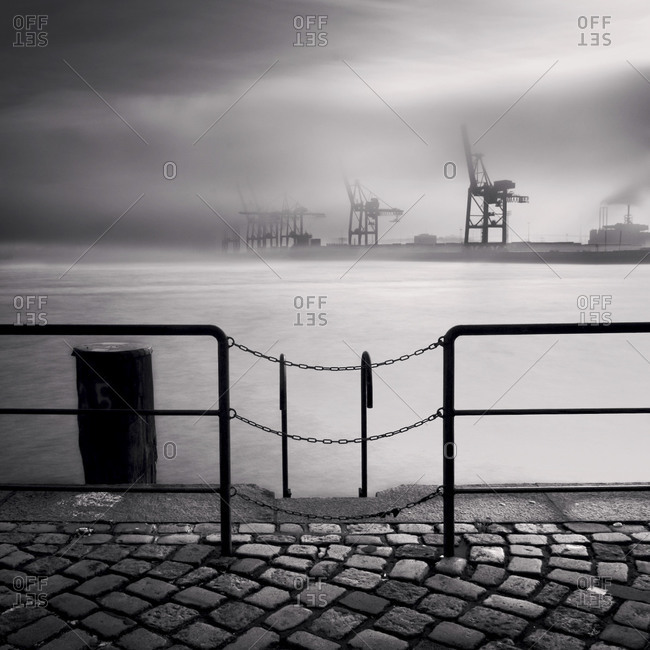 Industrial dock in the fog