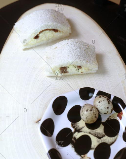 Egg salad sandwich with quail eggs