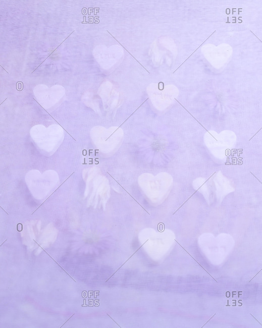 Hearts and flowers arranged on purple textile