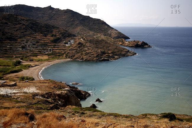 Aerial view of seashore on Kimolos Island, Greece