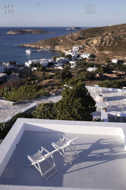 Houses on seacoast on Kimolos Island, Greece