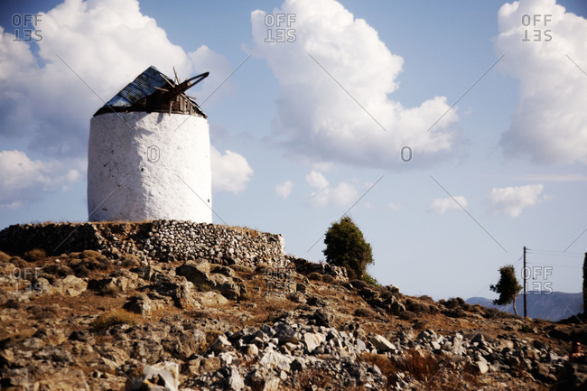 View of windmill on Kimolos Island, Greece