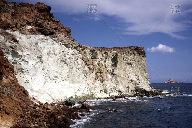 Rocky beach on Kimolos Island, Greece