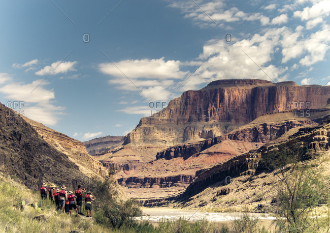 Group of tourists explore Grand Canyon