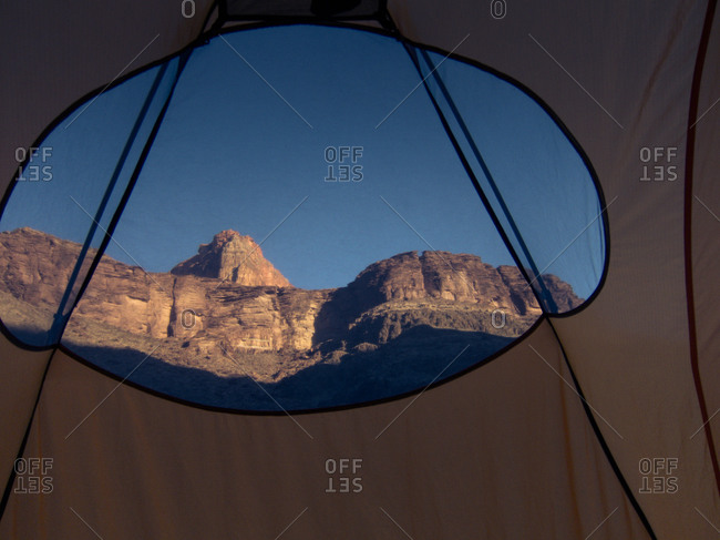 View of Grand Canyon from tent