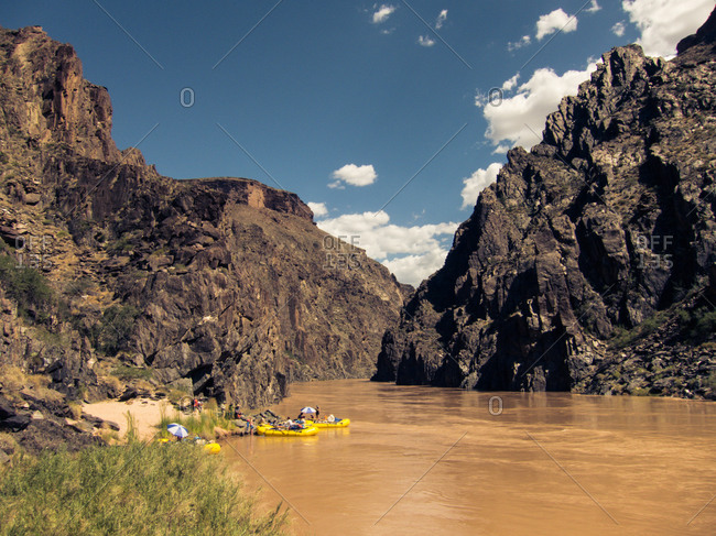 Moored rafts in Grand Canyon