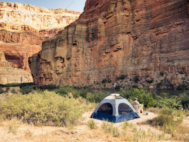 Campsite along Colorado River in the Grand Canyon