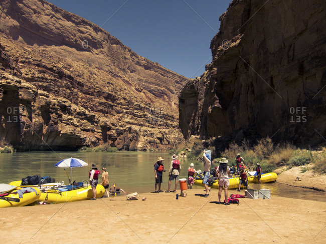Moored inflatables boats in Grand Canyon