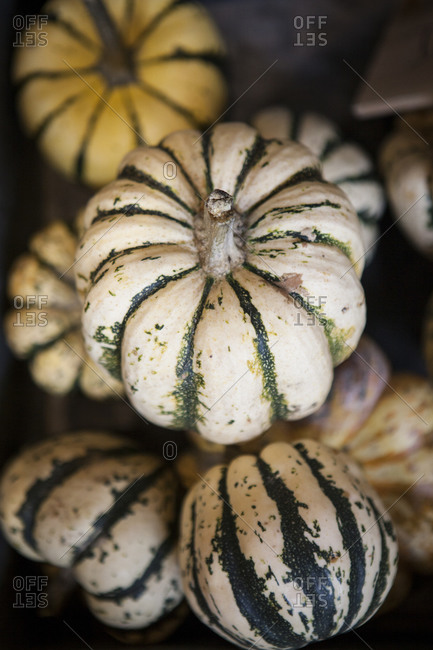 Small gourds for sale at a market.