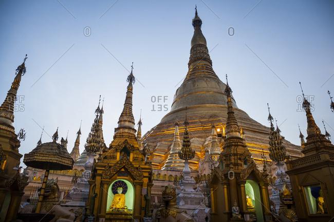 A view of Shwedagon Pagoda at dusk in Yangon, Myanmar.