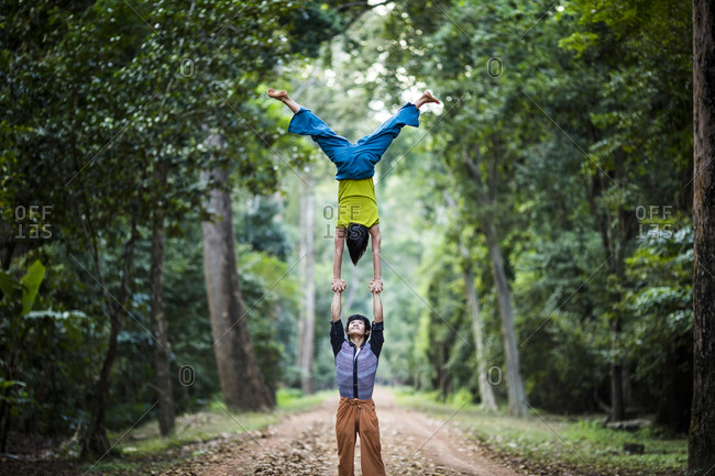 Siem Reap, Cambodia - November 29, 2013: Two Phare Circus performers, Siem Reap, Cambodia.