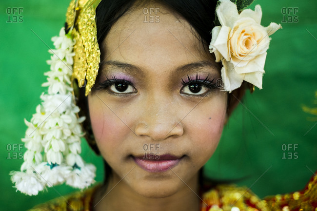 Battambang, Cambodia - June 9, 2012: Portrait of a young dancer wearing a traditional outfit in Battambang, Cambodia.