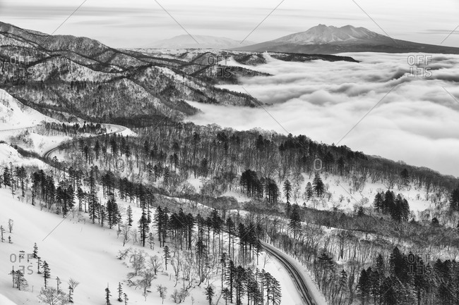 Rolling hills at winter in Hokkaido, Japan