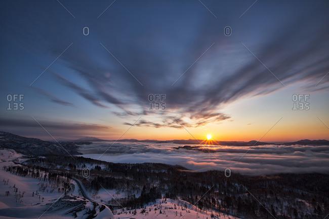 Tranquil landscape at winter in Hokkaido, Japan