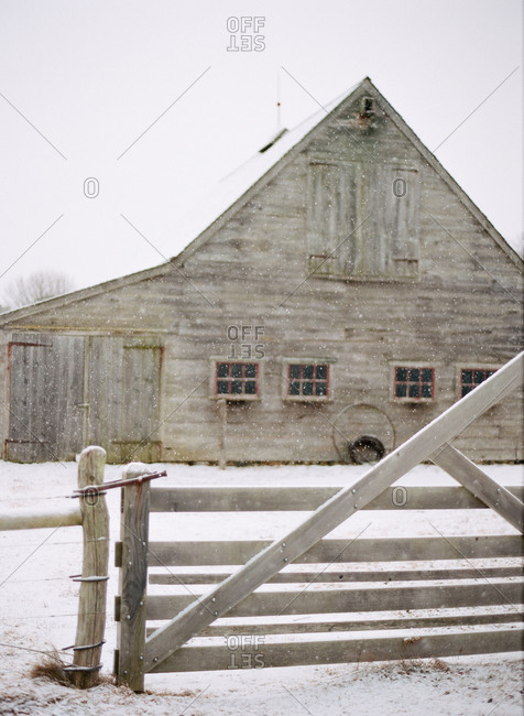 Country house in light snowfall