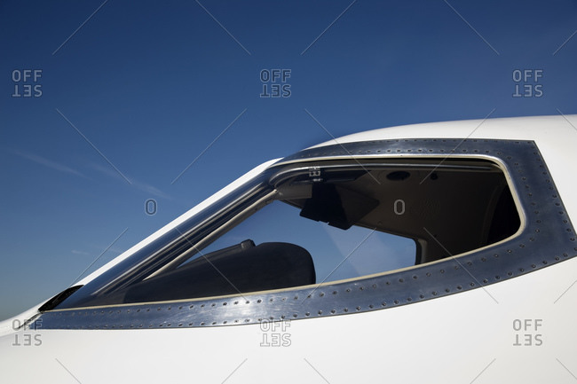 Cockpit of commercial airline jet on runway