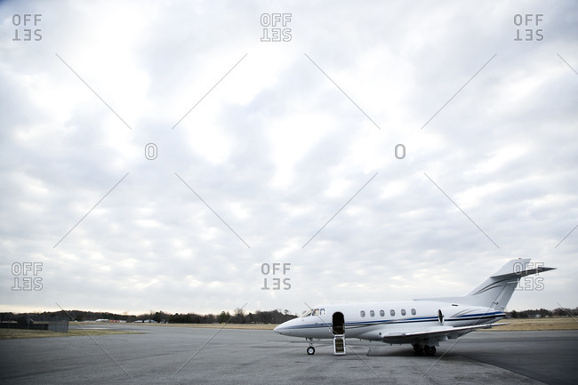 Commercial airline jet parked on runway
