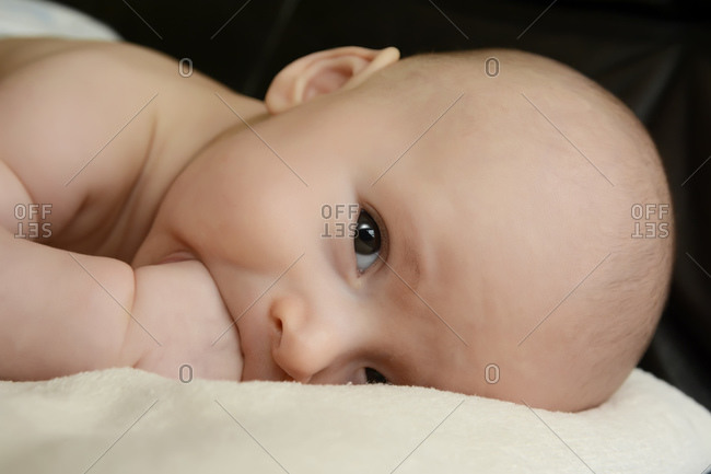 Portrait of baby boy with fist in his mouth