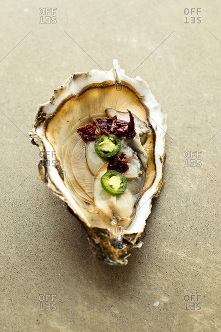 Fresh oyster on a half shell