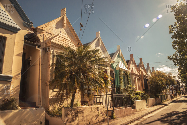 Row of old residential houses at sunlight