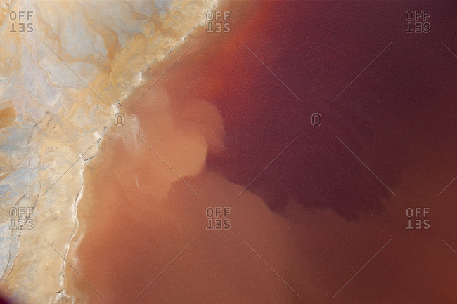 Aerial shot of oxidized iron minerals in the water at an old mining area, Rio Tinto, Huelva Province, Spain