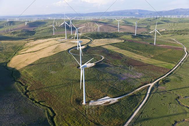 Aerial view of wind turbines Huelva Province, Spain