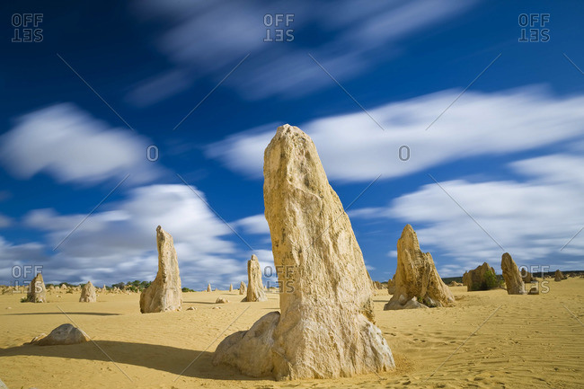 The Pinnacles are limestone pillars, Nambung National Park, Australia