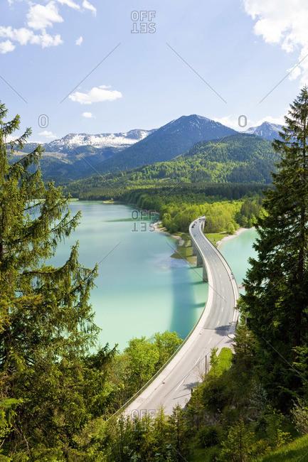 Sylvenstein Lake and bridge in Bavarian Alps, Germany