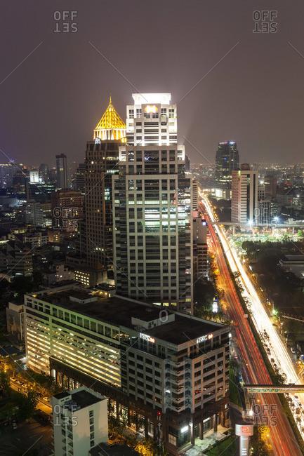 City skyline at dusk, Bangkok, Thailand