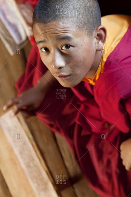 - October 3, 2011: Young monk studying, Chimi Lhakhang Monastery, Pana, Bhutan