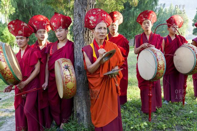 - October 3, 2011: Monks carrying out Buddhist ceremony, Punakha Dzong Monastery, Punakha, Bhutan