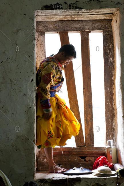 - October 4, 2011: Dancer in backstage, at Tsechu Festival, Gangtey Monastery, Phobjikha Valley, Bhutan