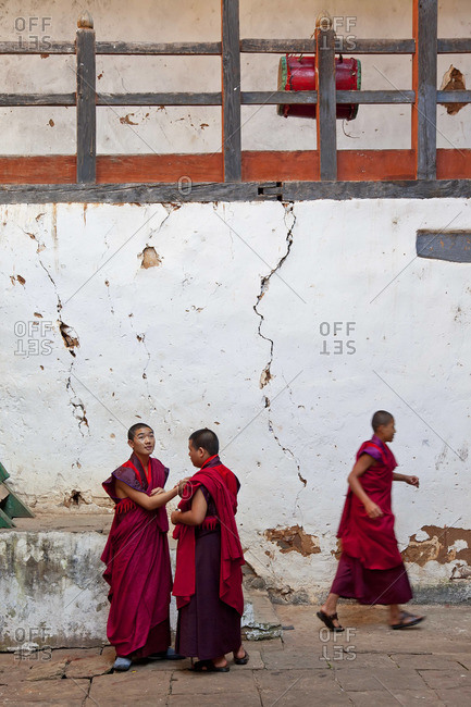 - October 5, 2011: Monks at Wangdue Phodrang Dzong, Wangdi, Bhutan