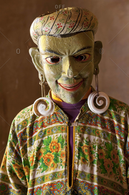 Masked dancer backstage, at Tsechu Festival, Gangtey Monastery, Phobjikha Valley, Bhutan