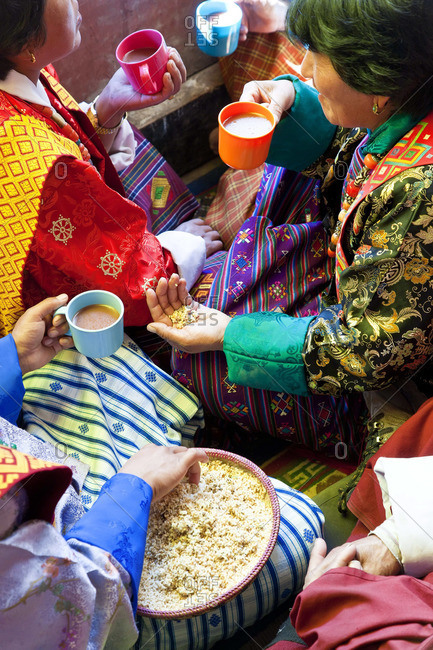 - October 10, 2011: Sharing tea and food Festival, Gangtey Dzong or monastery, Phobjikha Valley, Bhutan