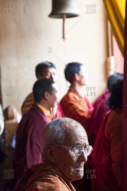 - October 10, 2011: Audience watching festival, at Tsechu Festival, Gangtey Monastery, Phobjikha Valley, Bhutan