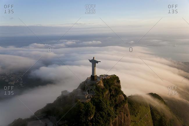 - December 5, 2011: Aerial view of Christ Redeemer statue on the Corcovado Mountain, Rio de Janeiro, Brazil