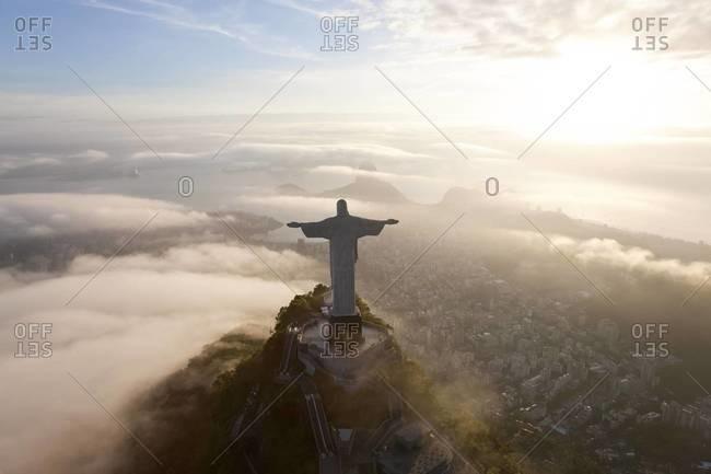 Corcovado Mountain, Rio de Janeiro, Brazil - December 5, 2011: Aerial view of Christ Redeemer statue on the Corcovado Mountain, Rio de Janeiro, Brazil